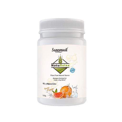 SUPERMUCIL NatuRelax Isabgol (Psyllium) Fibre Supplement: Orange Flavor: Sugar Free 100gm