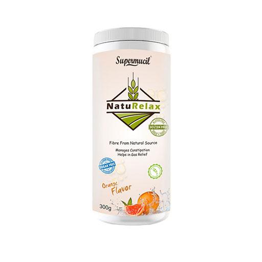 SUPERMUCIL NatuRelax Isabgol (Psyllium) Fibre Supplement: Orange Flavor: Sugar Free 300gm