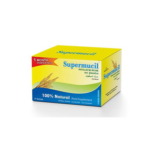SUPERMUCIL Psyllium Husk Sachets: Monthly Pack: 31 Sachets of 3.3 Grams each=102 Grams